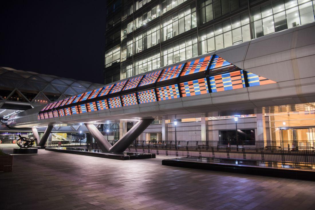 Camille Walala 3, London Mural Festival - Adams Plaza Bridge, Canary Wharf, E14 - Photo credit: Sean Pollock